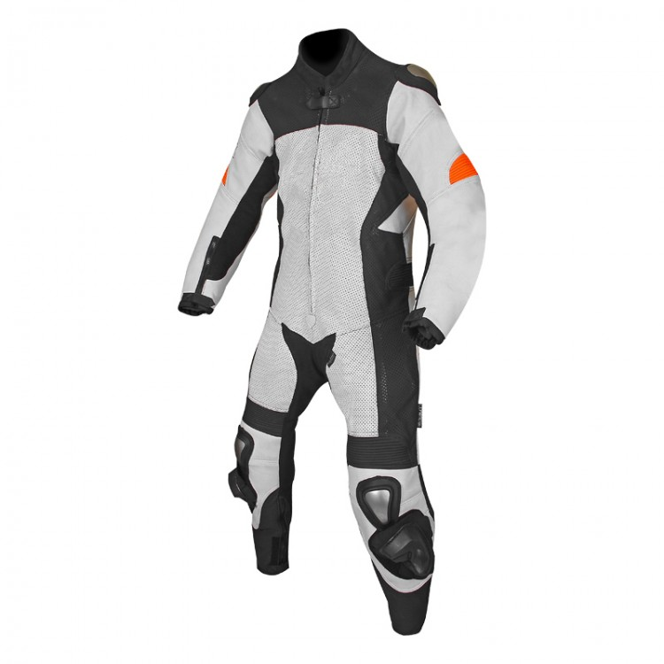 Mens motorbike cowhide milled leather summer white black perforated suit