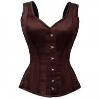 Overbust Dark brown steel boned vest style corset