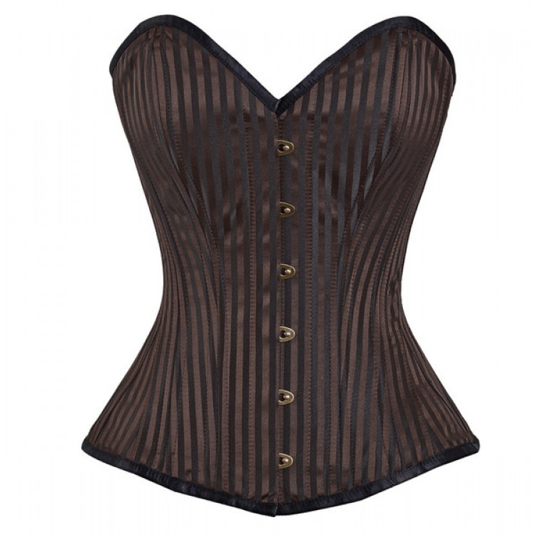 Overbust black brown stripped steel boned corset