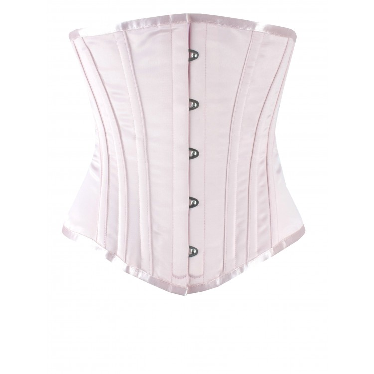 Long Line Underbust White satin steel boned corset