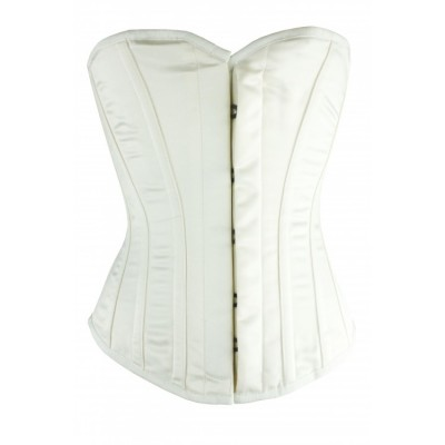Overbust white satin steel boned bridal corset
