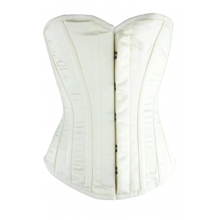 Overbust white satin steel boned bridal corset