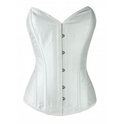 Overbust white satin bridal steel boned corset
