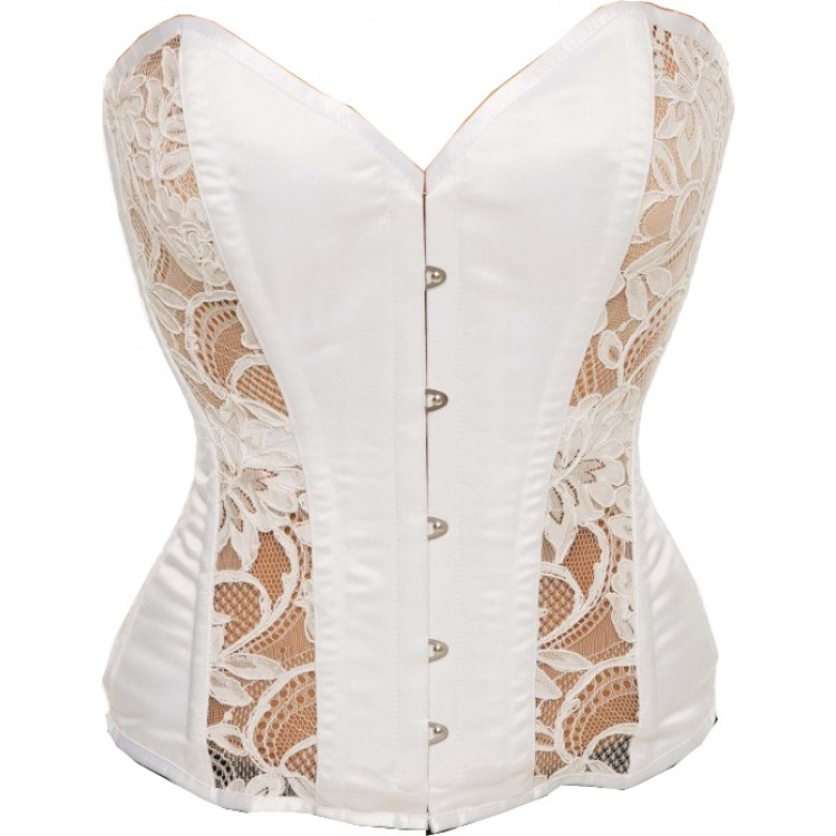 Overbust white satin and lace bridal steel boned corset