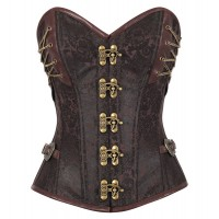 Overbust brown brocade steel boned steampunk 5 clasps corset