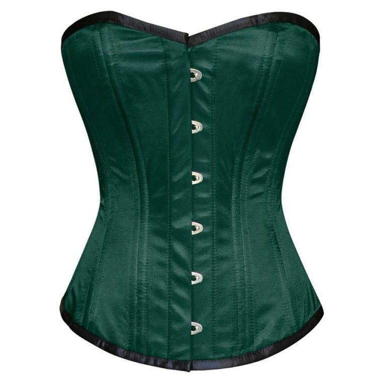Overbust green silk double steel boned corset