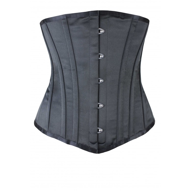 Halfbust black satin steel boned corset