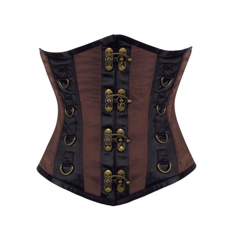 Underbust steel boned black and brown satin clasps corsets