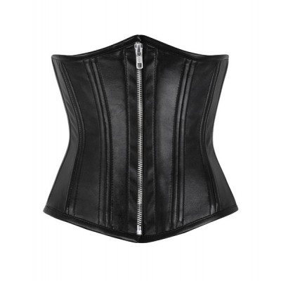 Underbust Double steel boned black sheep leather zipper corset