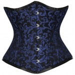 Underbust Steel boned blue brocade corset