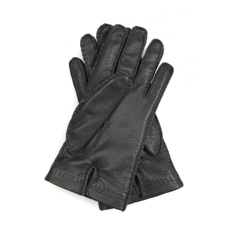Mens Black cowhide milled leather driving gloves