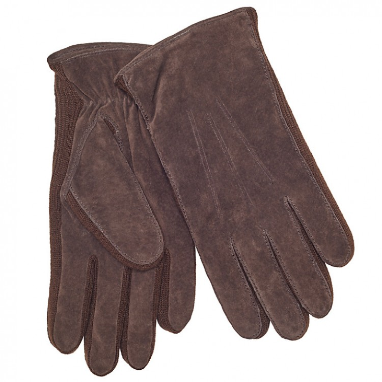 Brown split suede leather gloves for winter with side rib