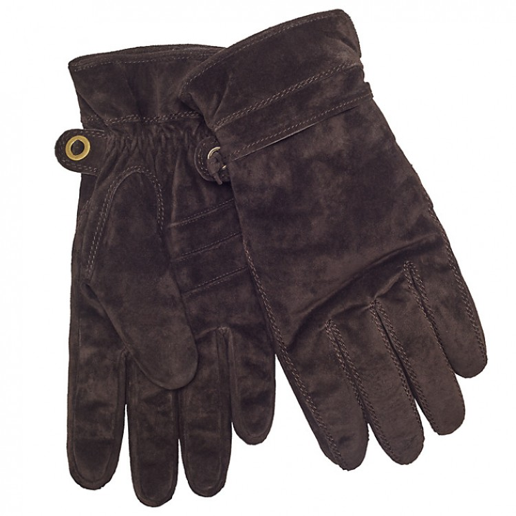 Mens brown suede leather winter gloves