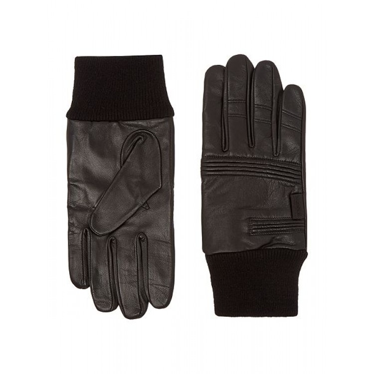 Black sheep leather gloves for winter