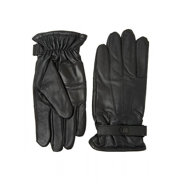 Black sheep leather winter gloves with belt
