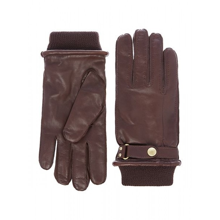 Light Brown sheep leather winter gloves with belt