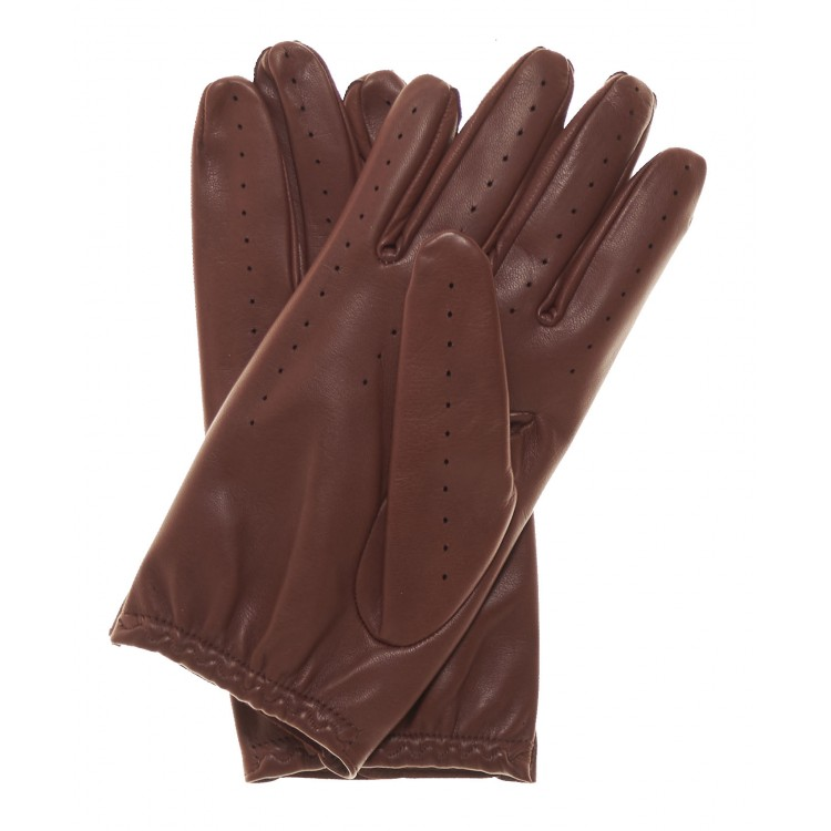 Ladies summer light brown sheep leather driving gloves