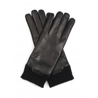 Mens black sheep leather gloves with rib