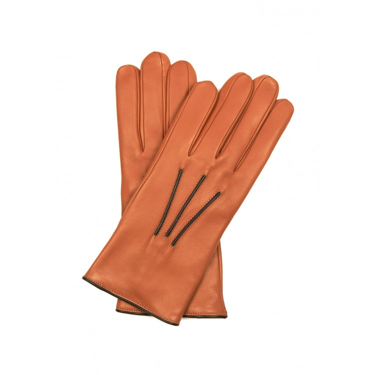 Tan sheep leather driving gloves with black trimming