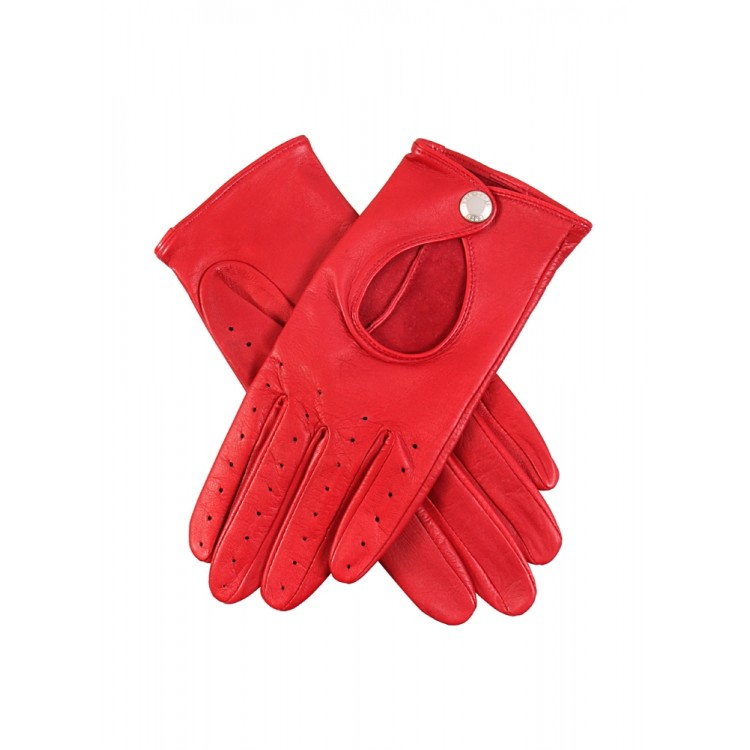 Ladies red sheep leather driving gloves for summer