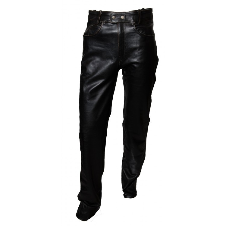 Mens black cowhide leather pant