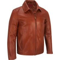 Mens light brown soft cowhide old style leather jacket