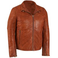 Mens Light Brown washed and waxed light brown sheep leather jacket with padding on sleeves