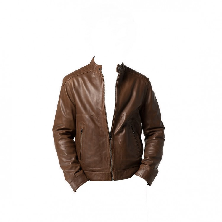 Mens Light Brown sheep nappa fashion leather jacket