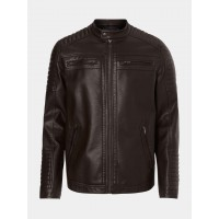 Mens dark brown sheep nappa leather jacket with padding on shoulder and sleeves