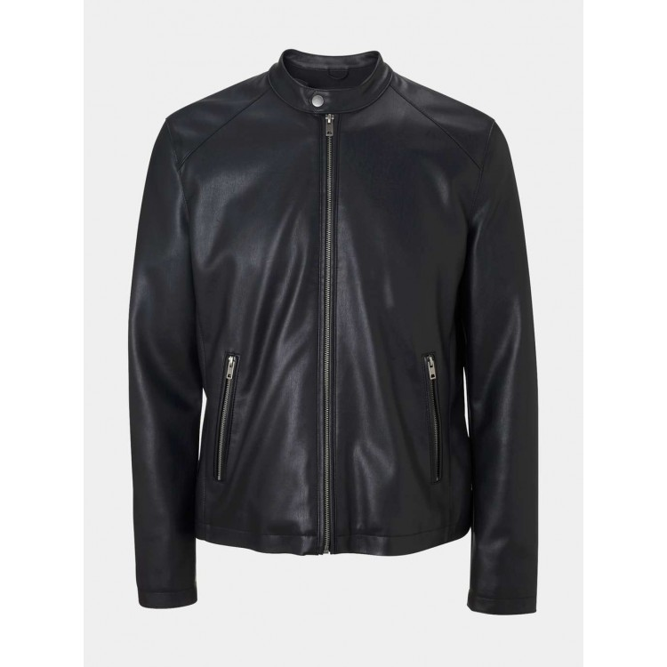 Mens Black Cowhide leather simple fashion jacket