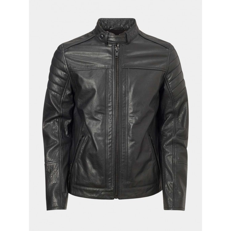 Mens Black Buffalo glaze leather collar strapped motorbike jacket