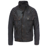 Mens padding crushed cowhide dark brown leather jacket