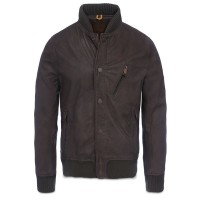 Mens bomber zipper pockets dark brown buffalo skipper leather jacket