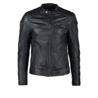 Mens black cowhide plain leather padded motorbike jacket