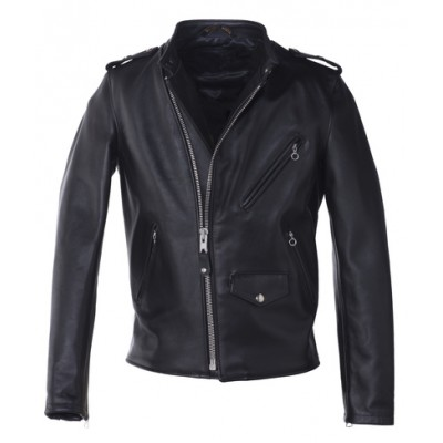 Mens DJ brando black cowhide aniline leather jacket
