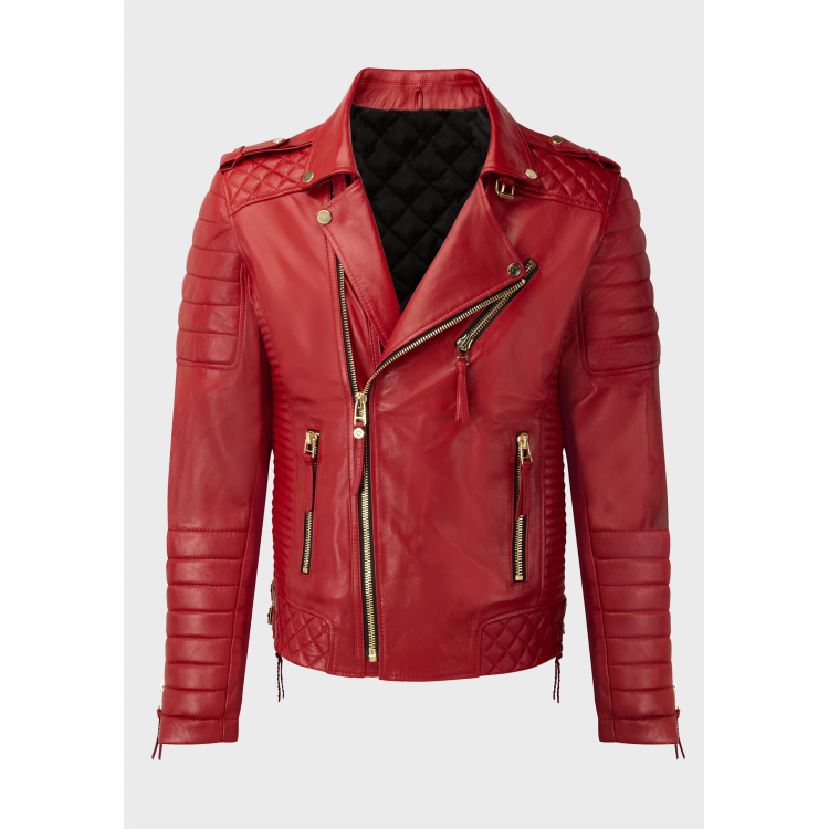 Mens quilted biker red sheep leather jackets