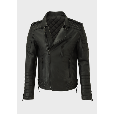 Mens quilted biker black sheep leather jacket with black material