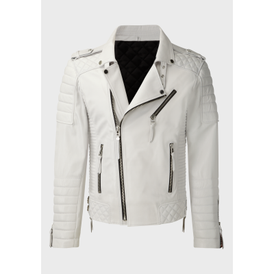 Mens Biker quilted white sheep leather jacket