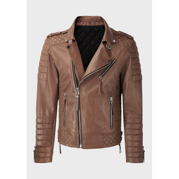 Mens biker quilted light brown sheep leather jacket