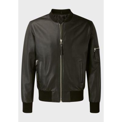 Mens Bomber black sheep leather with black rib jacket