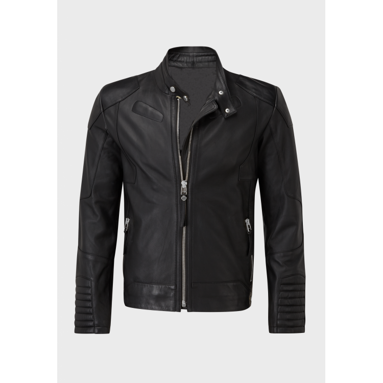 Mens Black sheep leather jacket with silver material