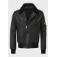 Mens black sheep leather jacket with real sheep fur on collar