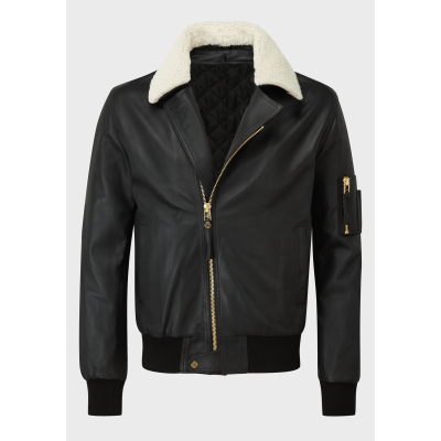 Mens black sheep leather jacket with real sheep fur collar