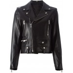 Mens Motorbike 3 Zippers and Flap pocket cowhide Black Leather Jacket