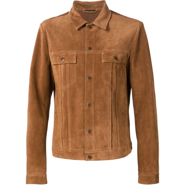 Mens Tan goat suede leather shirt