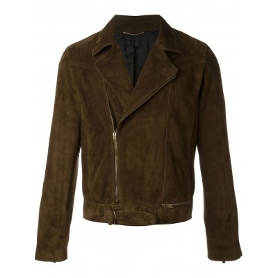 Mens Genuine Goat Suede Dark Brown Leather Jacket