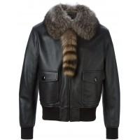 Mens Pilot Genuine Cowhide Milled Leather Jacket with Genuine fox fur