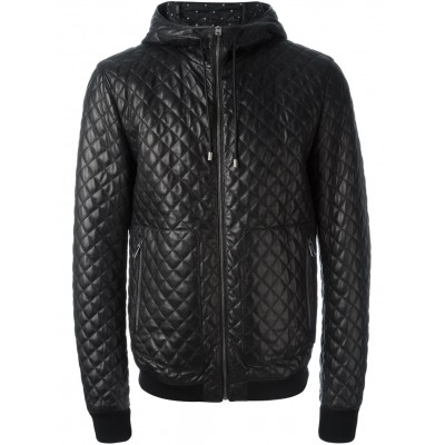 Mens Quilting Black Sheep Leather hooded Jacket