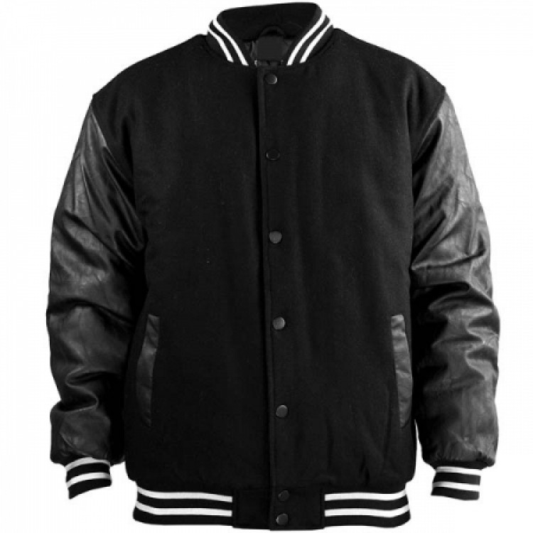 Mens Bomber Black Wool and Genuine Sheep leather jacket