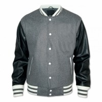Mens Bomber Grey Wool and Black Genuine Sheep leather jacket